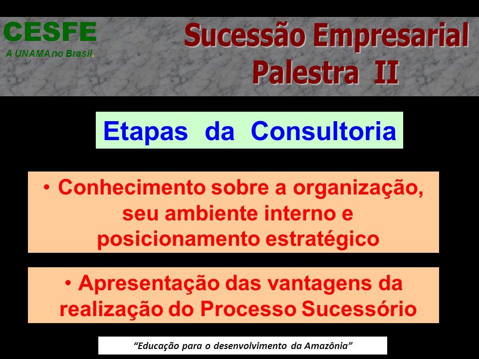 Educação para o desenvolvimento da Amazônia Etapas da Consultoria CESFE A UNAMA no Brasil. Conhecimento sobre a organização, seu ambiente interno e po