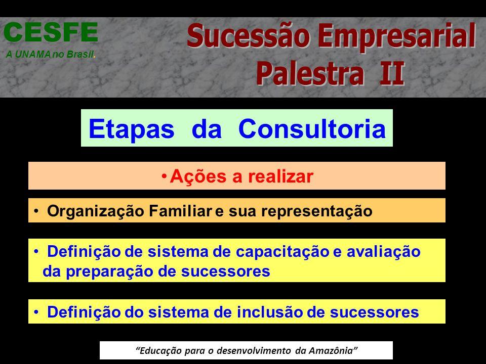 Educação para o desenvolvimento da Amazônia Etapas da Consultoria CESFE A UNAMA no Brasil. Ações a realizar Organização Familiar e sua representação D