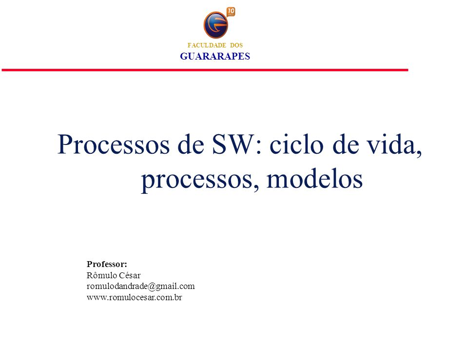 Processo do Software l Grupo de atividades coerentes para especificação, projeto, implementação e teste de sistemas de software.
