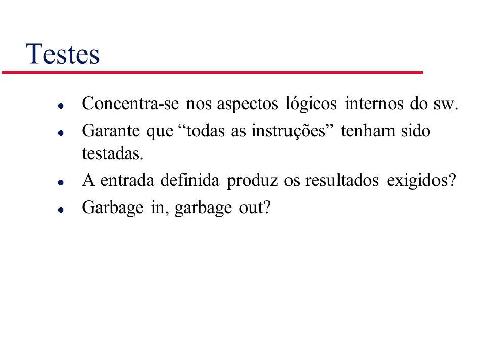 Testes l Concentra-se nos aspectos lógicos internos do sw. l Garante que todas as instruções tenham sido testadas. l A entrada definida produz os resu