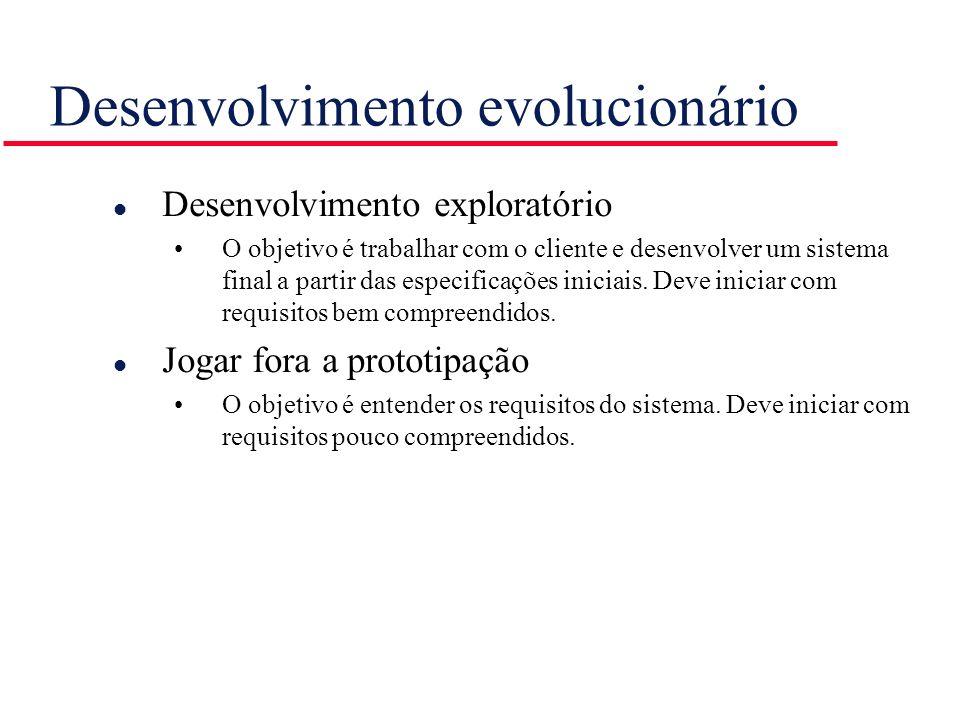 Desenvolvimento evolucionário l Desenvolvimento exploratório O objetivo é trabalhar com o cliente e desenvolver um sistema final a partir das especifi