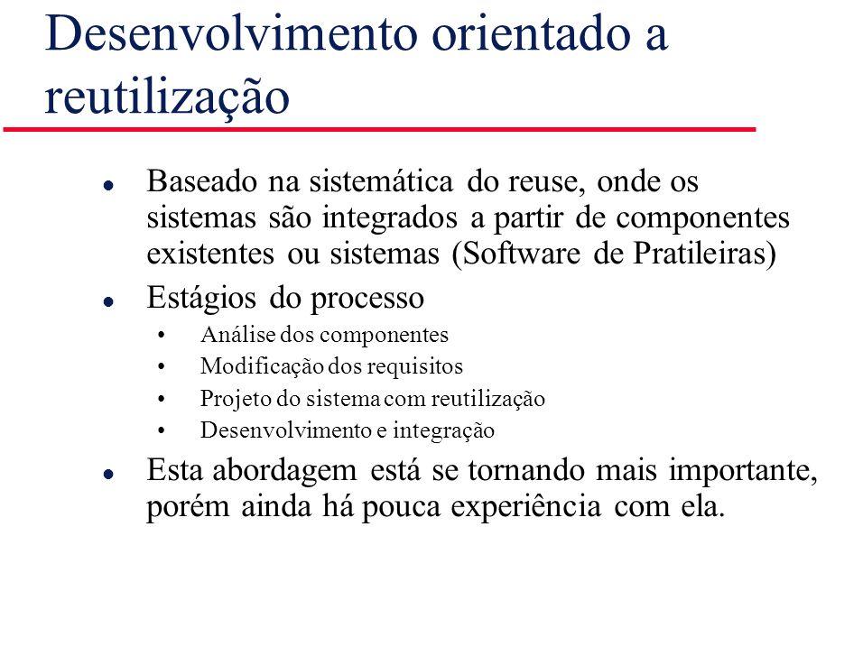 Desenvolvimento orientado a reutilização l Baseado na sistemática do reuse, onde os sistemas são integrados a partir de componentes existentes ou sist