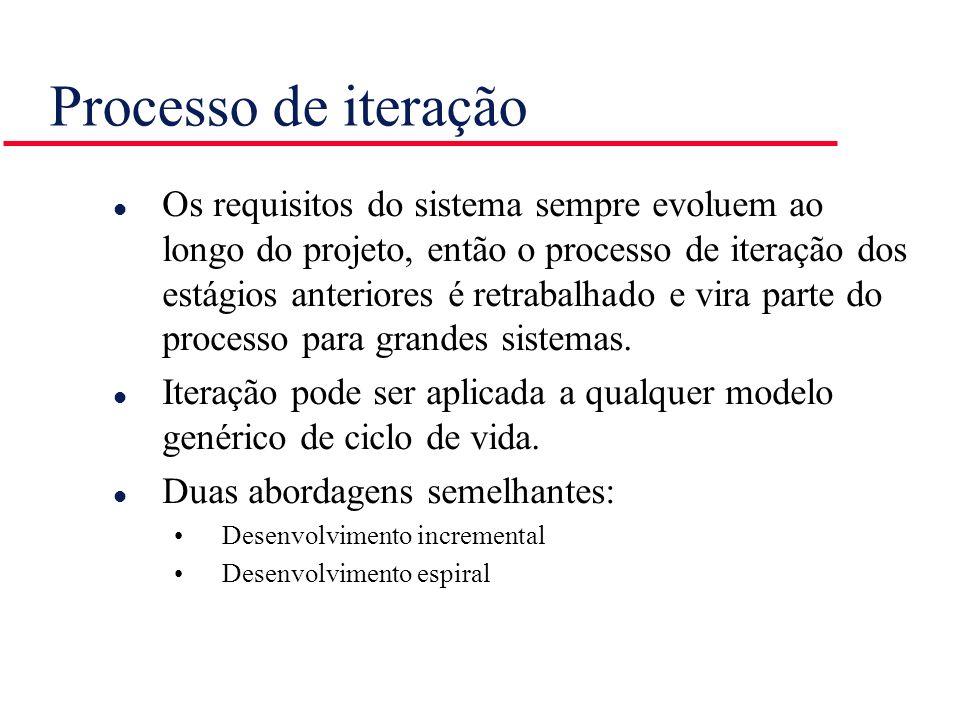 Processo de iteração l Os requisitos do sistema sempre evoluem ao longo do projeto, então o processo de iteração dos estágios anteriores é retrabalhad