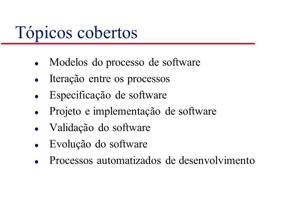 O processo do software l Um conjunto estruturado de atividades necessárias para desenvolver um sistema de software Especificação Projeto Validação Evolução l Um modelo de processo de software é uma representação abstrata do processo.