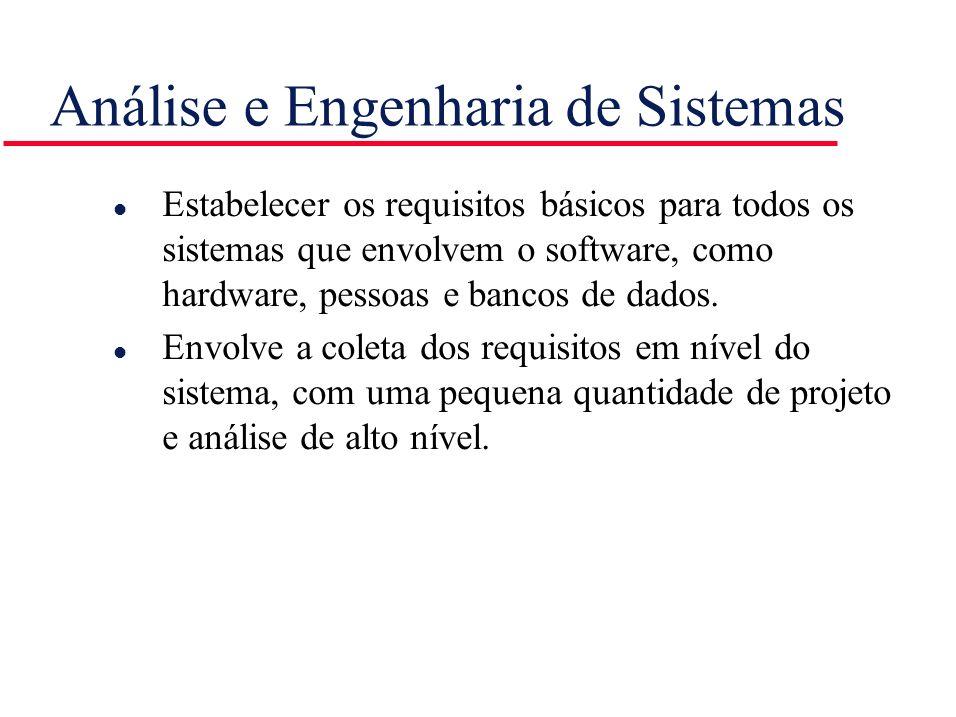 Análise e Engenharia de Sistemas l Estabelecer os requisitos básicos para todos os sistemas que envolvem o software, como hardware, pessoas e bancos d