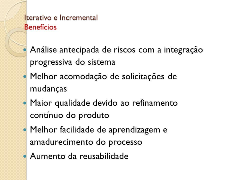 Iterativo e Incremental Benefícios Análise antecipada de riscos com a integração progressiva do sistema Melhor acomodação de solicitações de mudanças