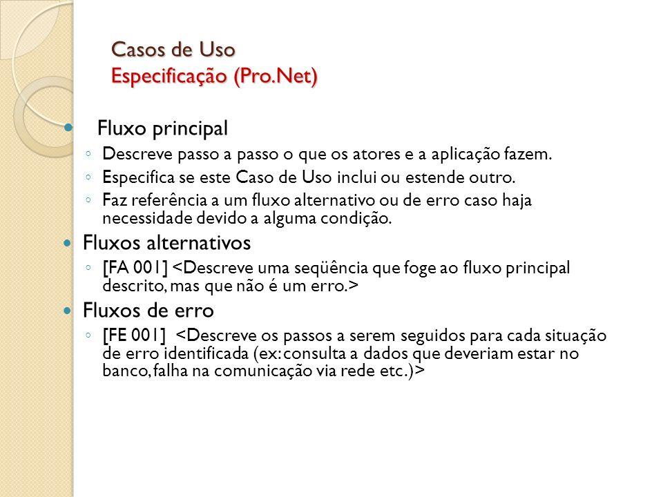 Casos de Uso Especificação (Pro.Net) Fluxo principal Descreve passo a passo o que os atores e a aplicação fazem. Especifica se este Caso de Uso inclui