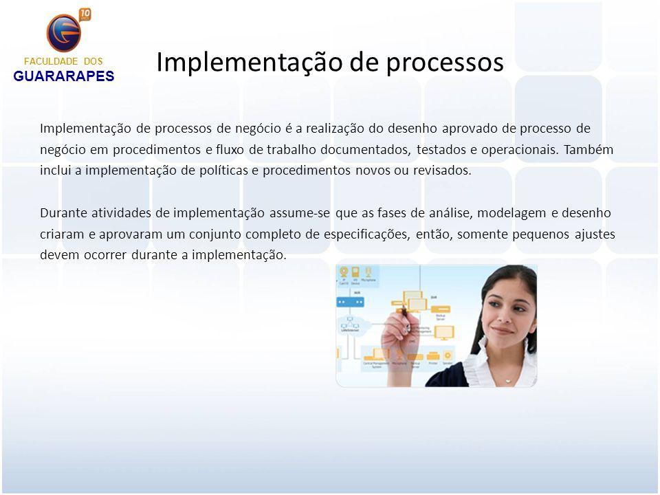 Monitoramento e controle de processos FACULDADE DOS GUARARAPES No contexto do ciclo BPM, medição e monitoramento provêem informações-chave de desempenho de processos através de métricas relacionadas às metas e ao valor para a organização.