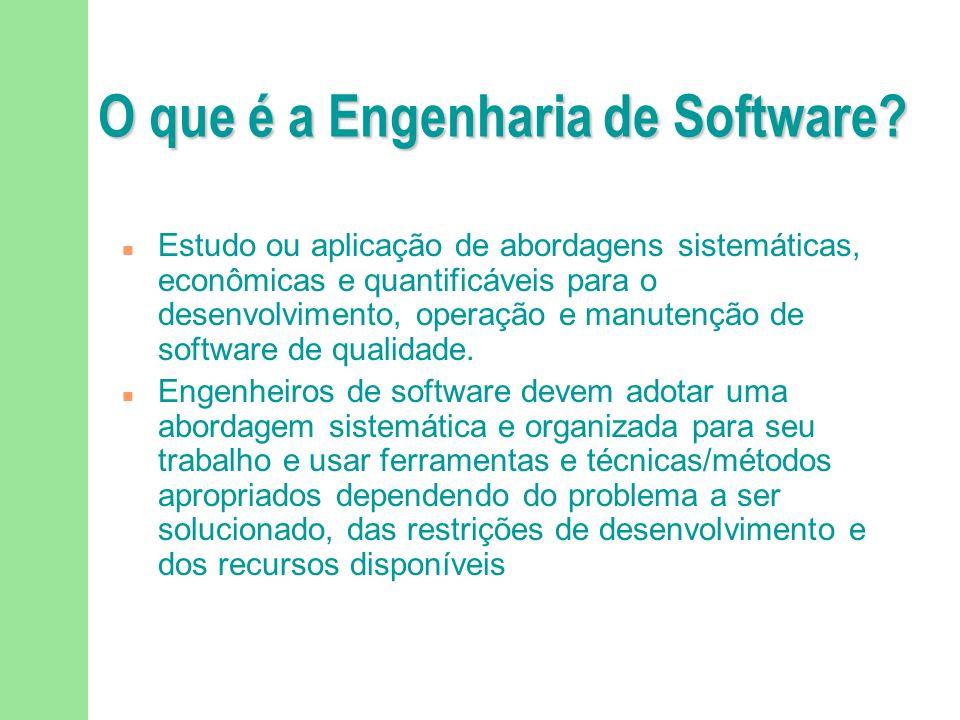 Importância da Engenharia de Software n Qualidade de software e produtividade garantem: u Disponibilidade de serviços essenciais u Segurança de pessoas u Competitividade das empresas F Produtores F Consumidores