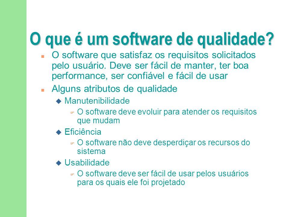 O que é um software de qualidade.n O software que satisfaz os requisitos solicitados pelo usuário.