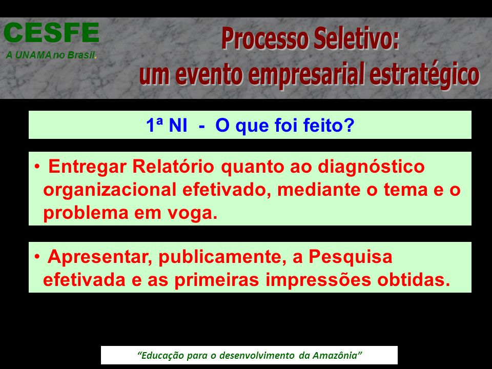 Educação para o desenvolvimento da Amazônia 1ª NI - O que foi feito? CESFE A UNAMA no Brasil. Entregar Relatório quanto ao diagnóstico organizacional