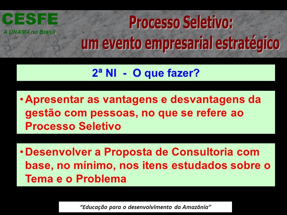 Educação para o desenvolvimento da Amazônia 2ª NI - O que fazer? CESFE A UNAMA no Brasil. Apresentar as vantagens e desvantagens da gestão com pessoas