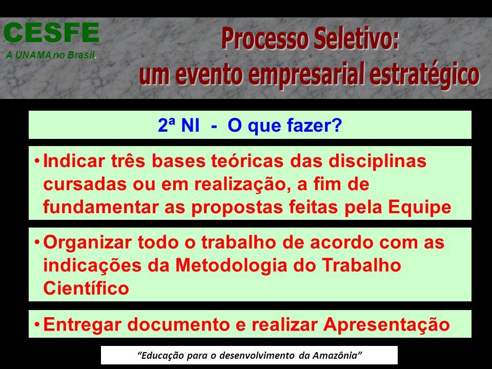 Educação para o desenvolvimento da Amazônia 2ª NI - O que fazer? CESFE A UNAMA no Brasil. Indicar três bases teóricas das disciplinas cursadas ou em r