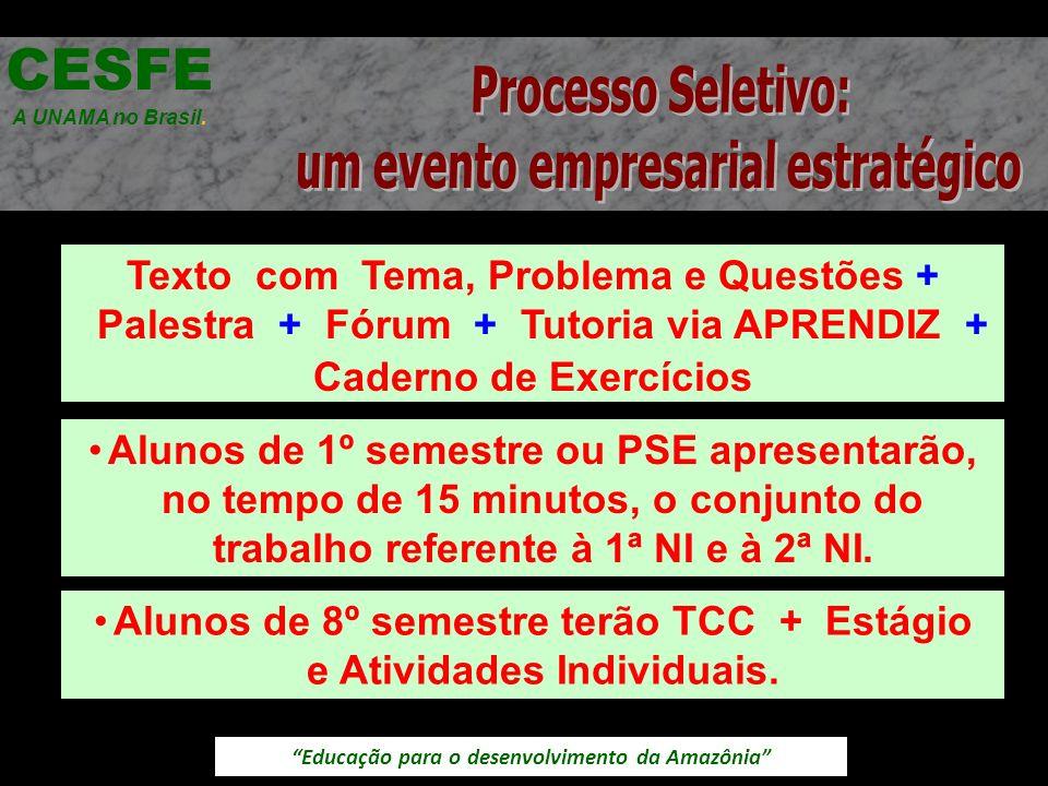 Educação para o desenvolvimento da Amazônia Texto com Tema, Problema e Questões + Palestra + Fórum + Tutoria via APRENDIZ + Caderno de Exercícios CESF