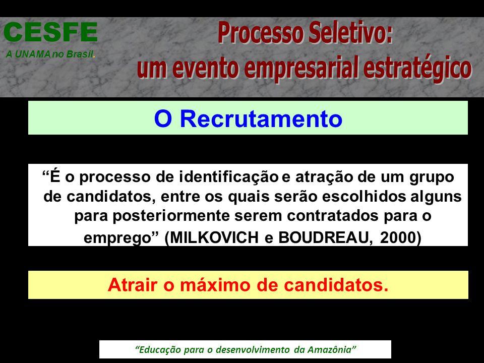 Educação para o desenvolvimento da Amazônia O Recrutamento CESFE A UNAMA no Brasil. É o processo de identificação e atração de um grupo de candidatos,