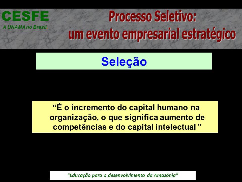 Educação para o desenvolvimento da Amazônia Seleção CESFE A UNAMA no Brasil. É o incremento do capital humano na organização, o que significa aumento