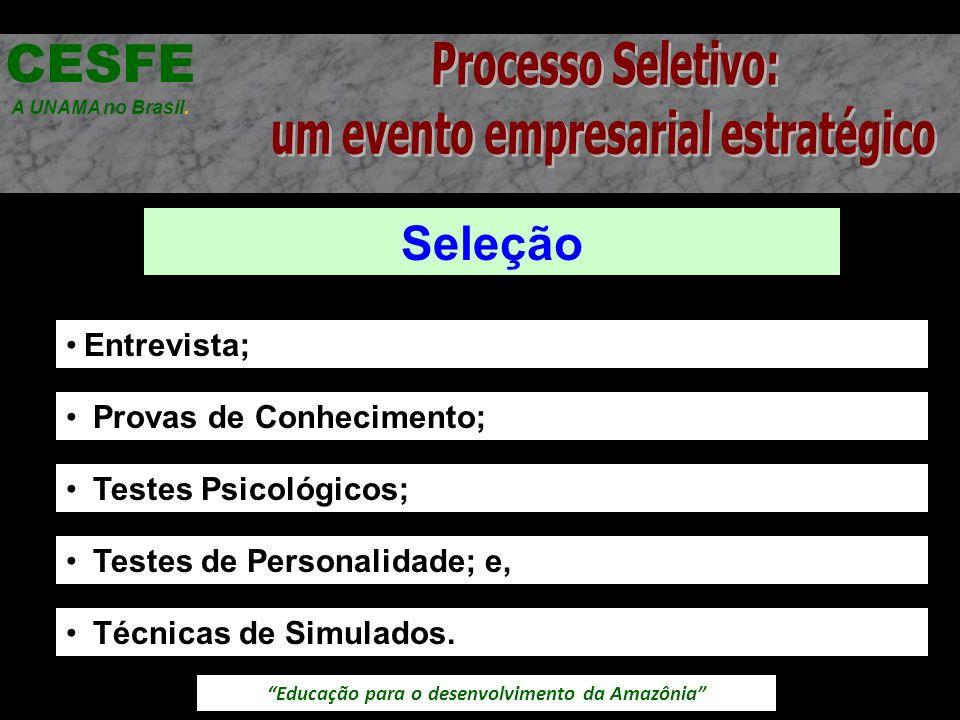 Educação para o desenvolvimento da Amazônia Seleção CESFE A UNAMA no Brasil. Entrevista; Provas de Conhecimento; Testes Psicológicos; Testes de Person