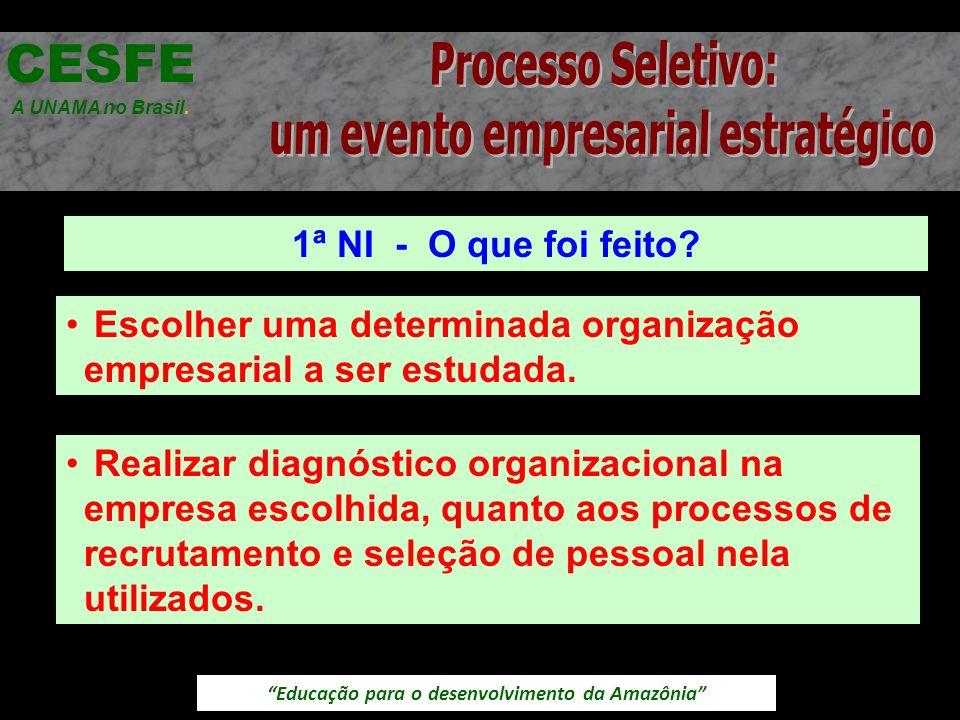 Educação para o desenvolvimento da Amazônia 1ª NI - O que foi feito? CESFE A UNAMA no Brasil. Escolher uma determinada organização empresarial a ser e