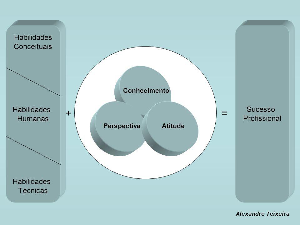 Habilidades Conceituais Habilidades Humanas Habilidades Técnicas Sucesso Profissional Conhecimento PerspectivaAtitude += Alexandre Teixeira