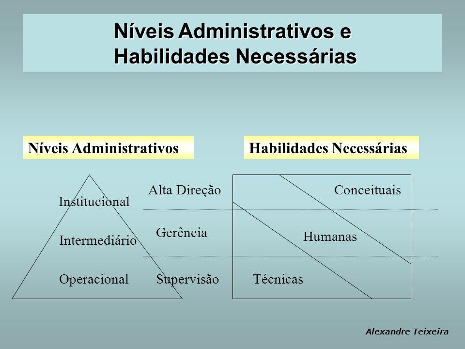 Habilidades NecessáriasNíveis Administrativos Intermediário Alta Direção Institucional Gerência OperacionalSupervisão Conceituais Humanas Técnicas Ale