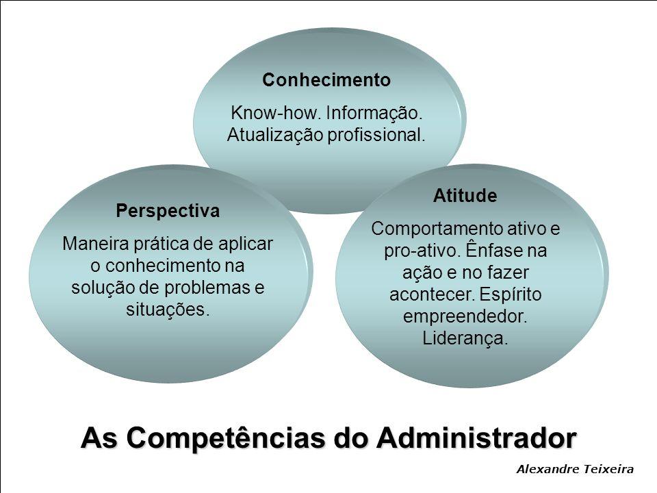 Perspectiva Maneira prática de aplicar o conhecimento na solução de problemas e situações. Atitude Comportamento ativo e pro-ativo. Ênfase na ação e n