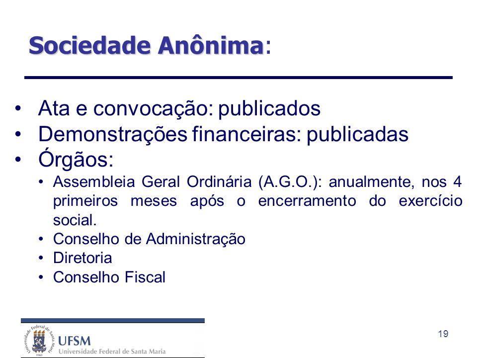 19 Sociedade Anônima Sociedade Anônima: Ata e convocação: publicados Demonstrações financeiras: publicadas Órgãos: Assembleia Geral Ordinária (A.G.O.)