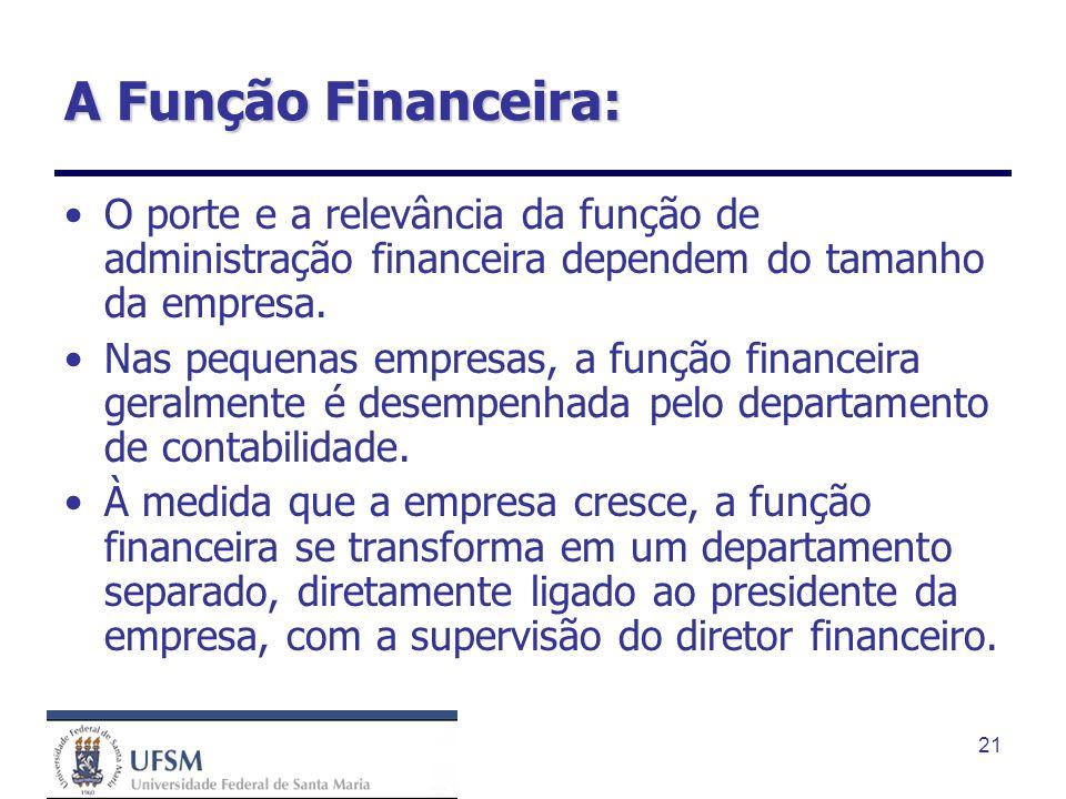 21 A Função Financeira: O porte e a relevância da função de administração financeira dependem do tamanho da empresa. Nas pequenas empresas, a função f