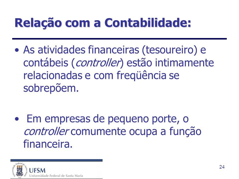24 Relação com a Contabilidade: As atividades financeiras (tesoureiro) e contábeis (controller) estão intimamente relacionadas e com freqüência se sob