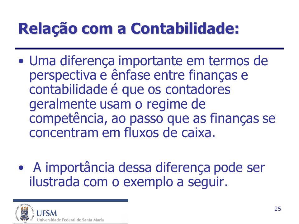 25 Relação com a Contabilidade: Uma diferença importante em termos de perspectiva e ênfase entre finanças e contabilidade é que os contadores geralmen