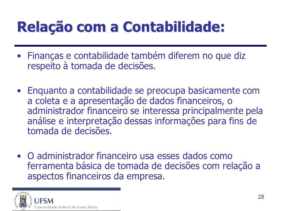 28 Relação com a Contabilidade: Finanças e contabilidade também diferem no que diz respeito à tomada de decisões. Enquanto a contabilidade se preocupa