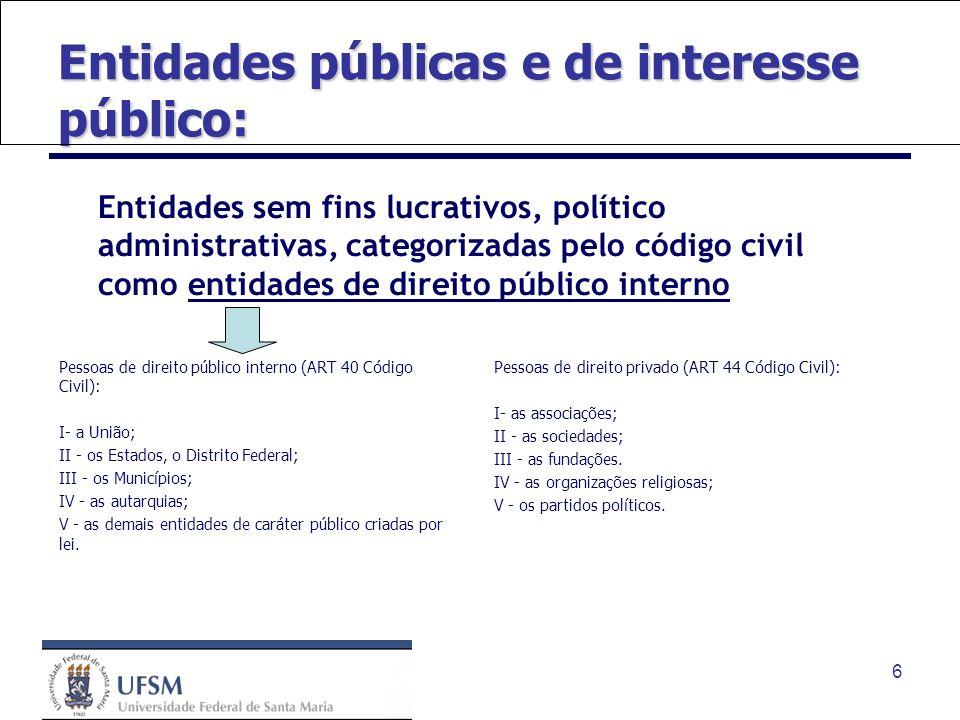 6 Entidades públicas e de interesse público: Entidades sem fins lucrativos, político administrativas, categorizadas pelo código civil como entidades d