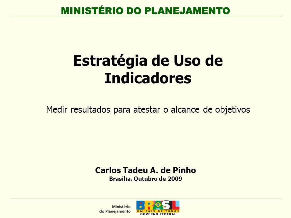 MINISTÉRIO DO PLANEJAMENTO Estratégia de Uso de Indicadores Medir resultados para atestar o alcance de objetivos MINISTÉRIO DO PLANEJAMENTO Carlos Tad