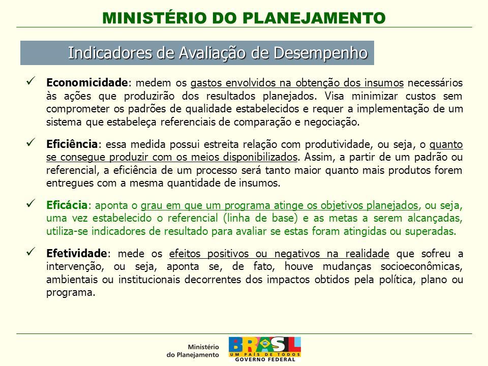 MINISTÉRIO DO PLANEJAMENTO Economicidade: medem os gastos envolvidos na obtenção dos insumos necessários às ações que produzirão dos resultados planej