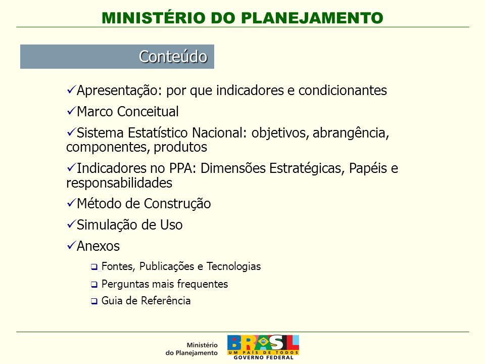 MINISTÉRIO DO PLANEJAMENTO Apresentação: por que indicadores e condicionantes Marco Conceitual Sistema Estatístico Nacional: objetivos, abrangência, c