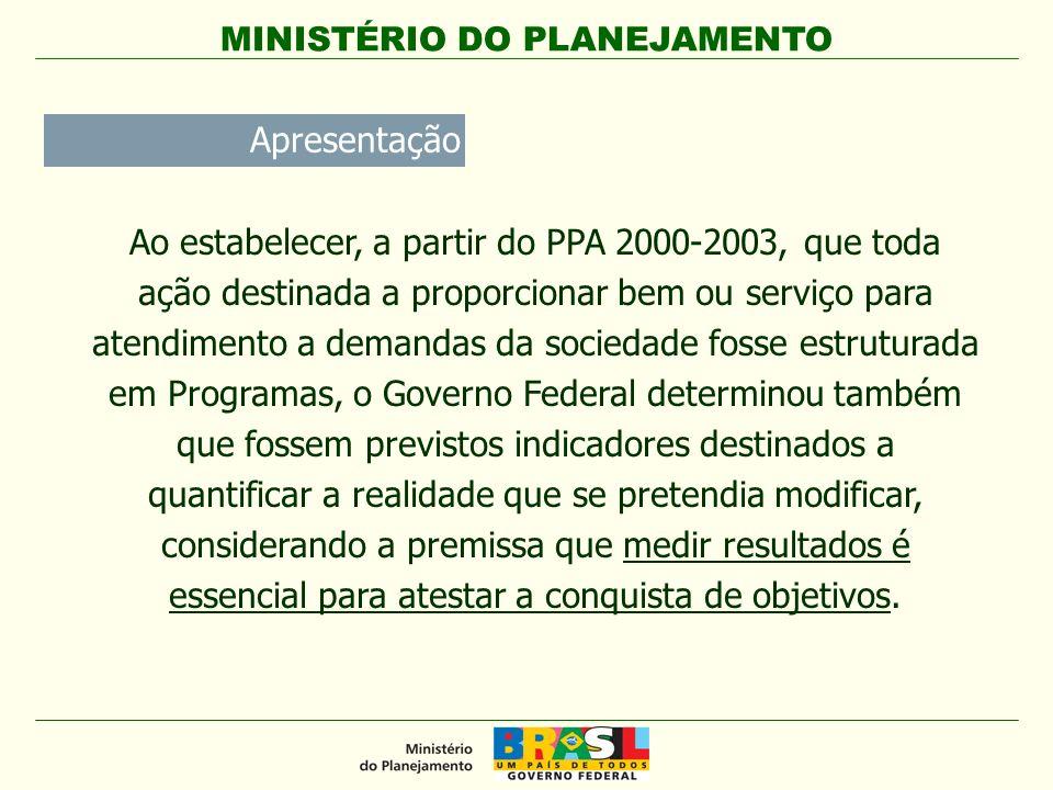 MINISTÉRIO DO PLANEJAMENTO Economicidade: medem os gastos envolvidos na obtenção dos insumos necessários às ações que produzirão dos resultados planejados.