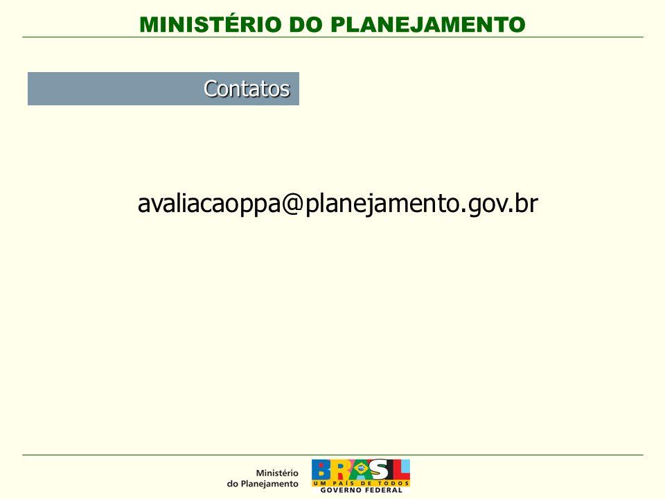 MINISTÉRIO DO PLANEJAMENTO Contatos avaliacaoppa@planejamento.gov.br
