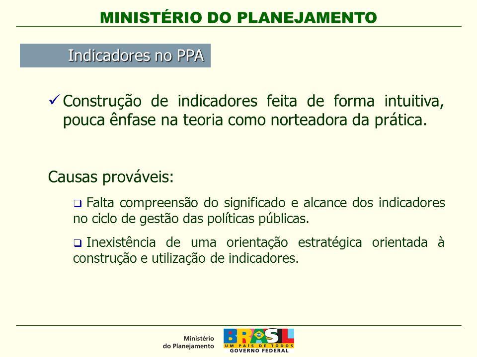 MINISTÉRIO DO PLANEJAMENTO Definir uma estratégia de utilização de indicadores orientada à avaliação de resultados dos programas do PPA.