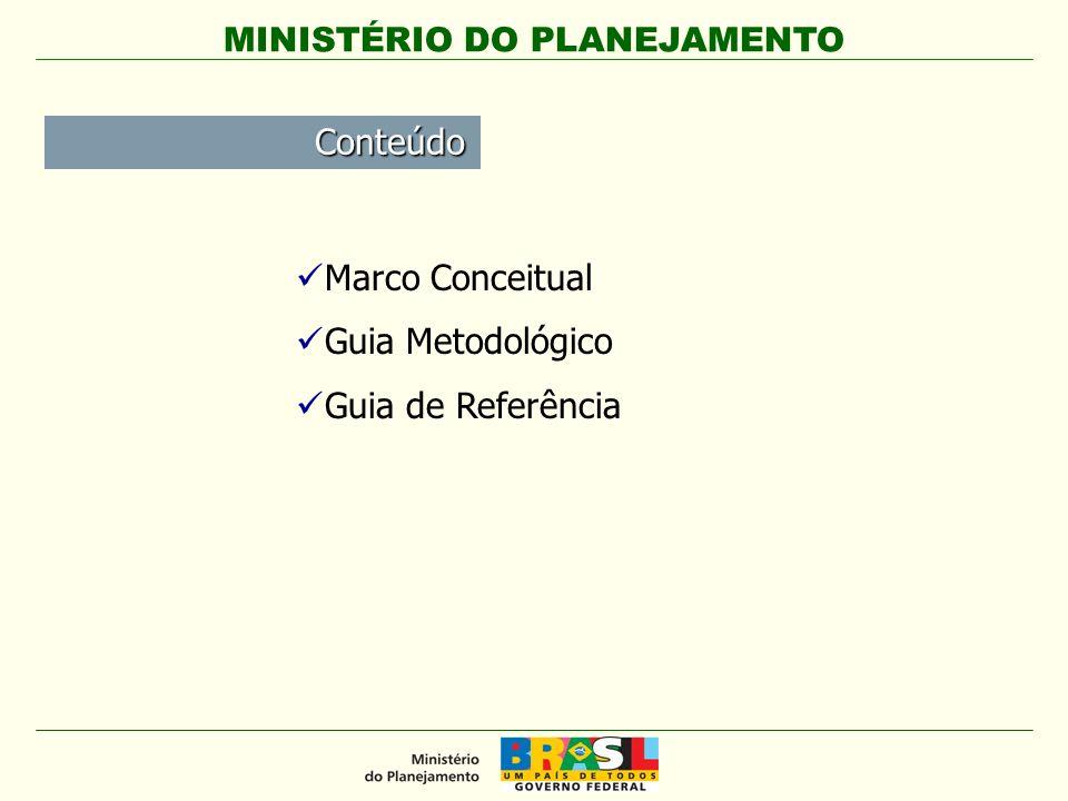 MINISTÉRIO DO PLANEJAMENTO Marco Conceitual Guia Metodológico Guia de Referência Conteúdo