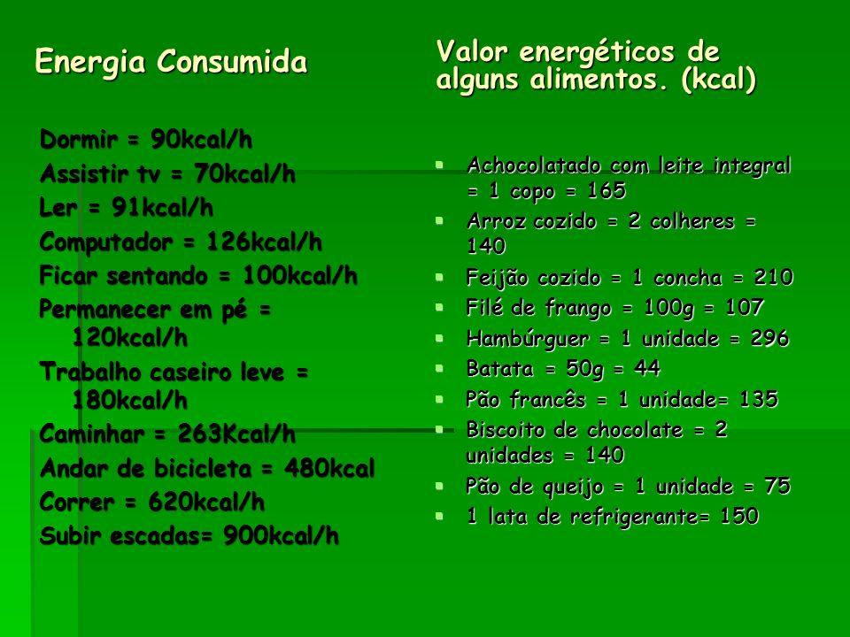 Energia Consumida Valor energéticos de alguns alimentos. (kcal) Dormir = 90kcal/h Assistir tv = 70kcal/h Ler = 91kcal/h Computador = 126kcal/h Ficar s