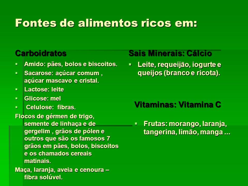 Fontes de alimentos ricos em: Carboidratos Amido: pães, bolos e biscoitos. Amido: pães, bolos e biscoitos. Sacarose: açúcar comum, açúcar mascavo e cr