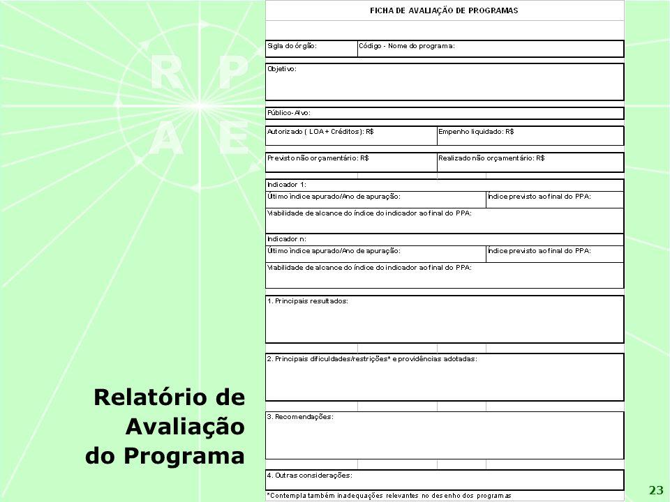 23 Relatório de Avaliação do Programa