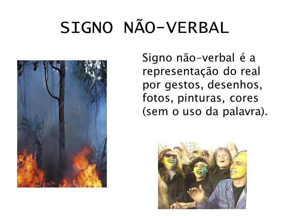 SIGNO NÃO-VERBAL Signo não-verbal é a representação do real por gestos, desenhos, fotos, pinturas, cores (sem o uso da palavra).