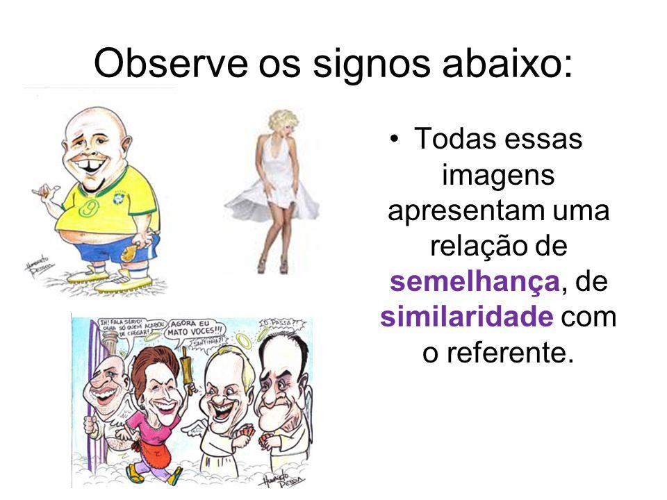 Observe os signos abaixo: Todas essas imagens apresentam uma relação de semelhança, de similaridade com o referente.
