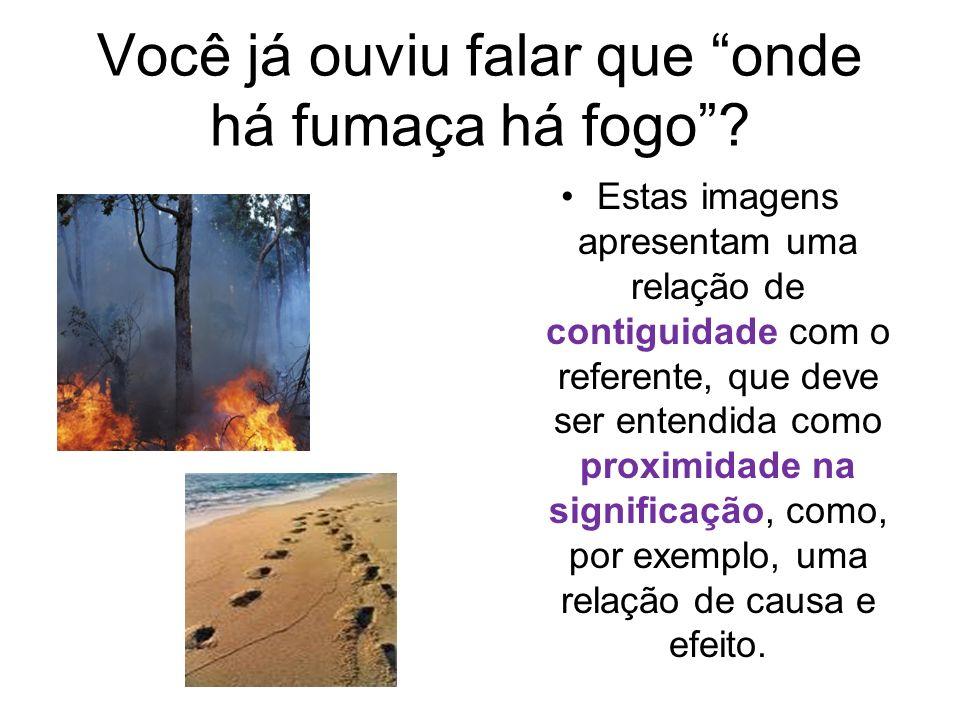 Você já ouviu falar que onde há fumaça há fogo? Estas imagens apresentam uma relação de contiguidade com o referente, que deve ser entendida como prox