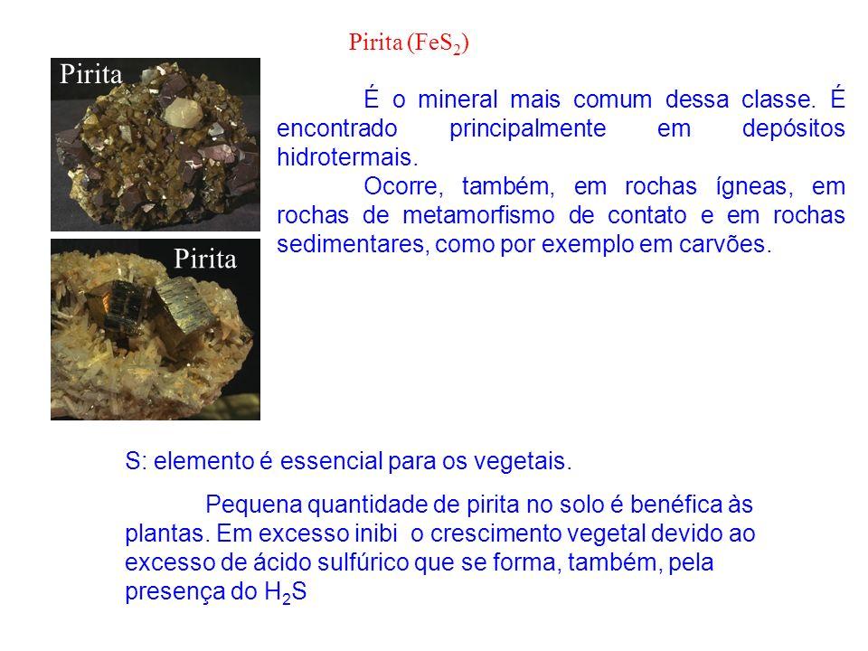 Pirita É o mineral mais comum dessa classe. É encontrado principalmente em depósitos hidrotermais. Ocorre, também, em rochas ígneas, em rochas de meta