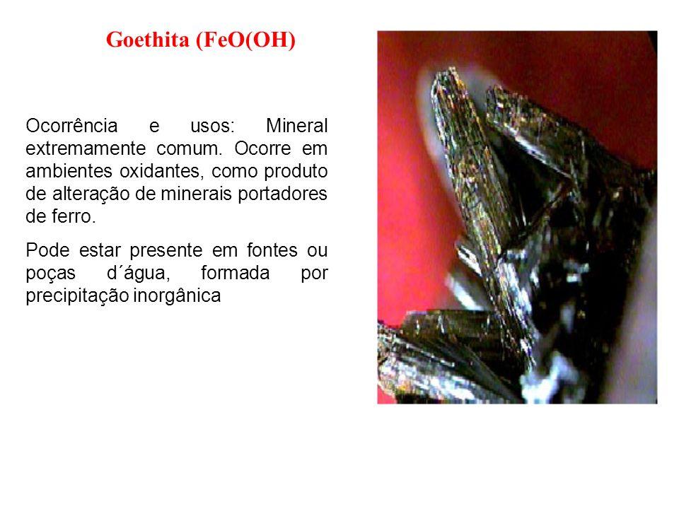 Ocorrência e usos: Mineral extremamente comum. Ocorre em ambientes oxidantes, como produto de alteração de minerais portadores de ferro. Pode estar pr