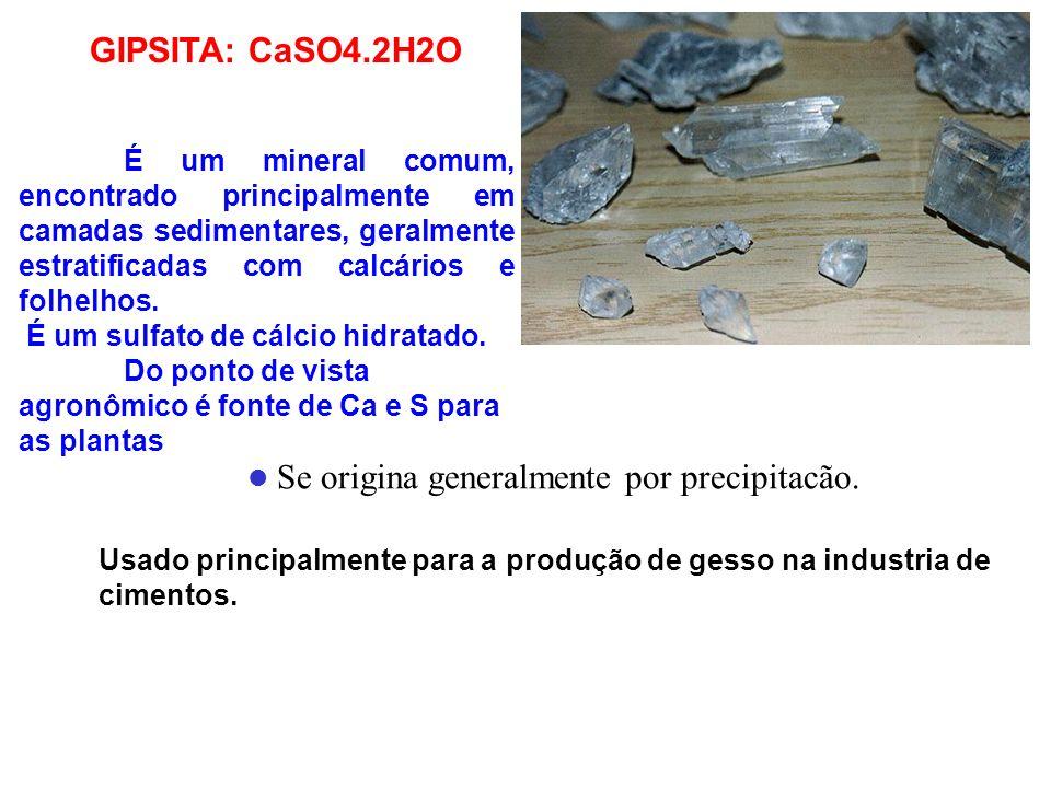 GIPSITA: CaSO4.2H2O É um mineral comum, encontrado principalmente em camadas sedimentares, geralmente estratificadas com calcários e folhelhos. É um s