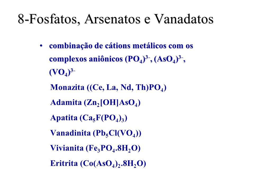 8-Fosfatos, Arsenatos e Vanadatos combinação de cátions metálicos com os complexos aniônicos (PO 4 ) 3-, (AsO 4 ) 3-, (VO 4 ) 3-combinação de cátions