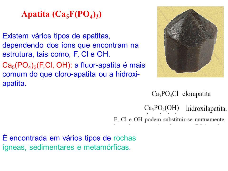 Existem vários tipos de apatitas, dependendo dos íons que encontram na estrutura, tais como, F, Cl e OH. Ca 5 (PO 4 ) 3 (F,Cl, OH): a fluor-apatita é