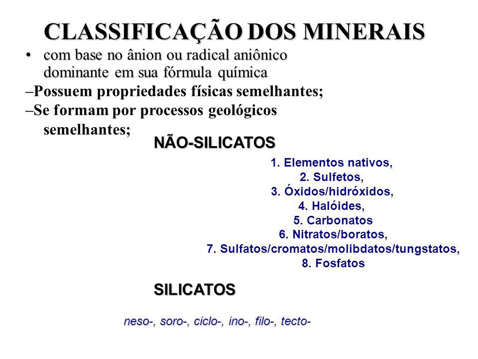 CLASSIFICAÇÃO DOS MINERAIS CLASSIFICAÇÃO DOS MINERAIS com base no ânion ou radical aniônico dominante em sua fórmula químicacom base no ânion ou radic